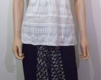 White embroidered top, 100% cotton