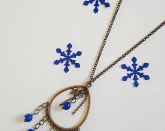 Necklace drop and blue glass bead