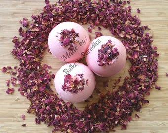 Rose Petal Bath Bomb Fizzy Essential Oils, Large, 2.6 inch