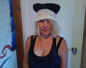 Black White Lace P Hat