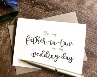 To my father-in-law on my wedding day, To my Father-in-Law card, Father in law gift, father in law card, father of the groom card