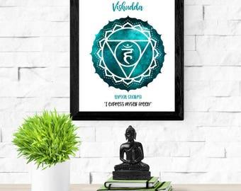 Throat Chakra Print | 5th Chakra Symbol | Vishudda | Fifth Chakra Healing  | Zen Art Print | Reiki Healing Poster | Positive Affirmation