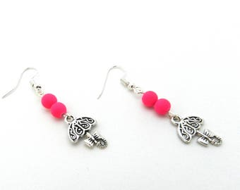 Earrings, umbrella, beads, pink