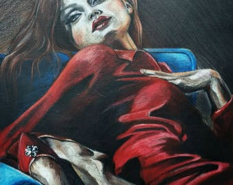 Red Dress. Colored Pencil Original Drawing . Woman in Red Dress. Prismacolor Pencils Drawing