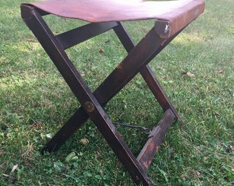 Vintage Wood Folding Stool with Leather Seat.