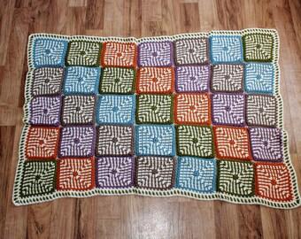Linen Stitch Crochet Throw Blanket
