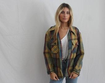 60s plaid chore coat