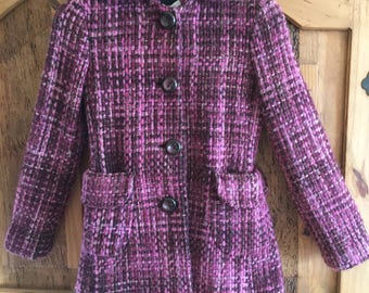Vintage 90's Banana Republic Purple Pink Boucle Wool Coat