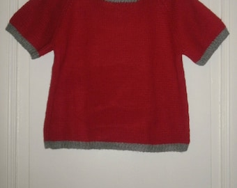 Small retro jumper red/gray