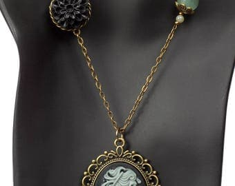 Grey On Black Lolita Skeleton Cameo Pendant Necklace (Victorian Style)