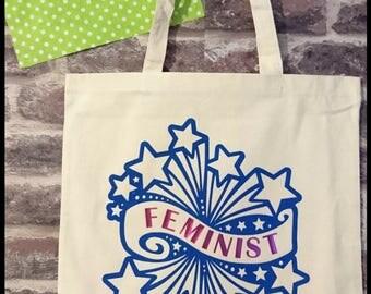 feminist fireworks empowerment tote bag