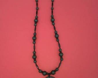 Silver lustre & ring lava ,glass necklace