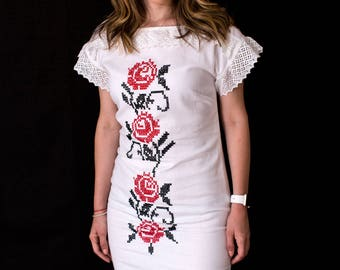 Summer Red Rose White Cotton Dress with Hand Embroidery