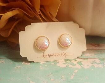 12mm Opal White Mermaid Earrings - Mermaid Scale, Faux Plugs, Opal Mermaid Studs, Opal Earrings - Dragon Scales - Mermaid Jewelry - Gifts