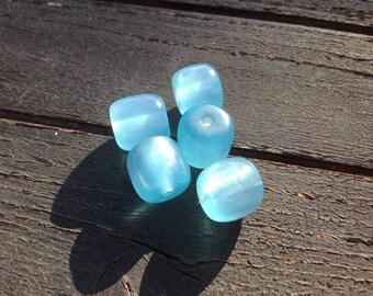 Glass Cubes Blue 12mm beads