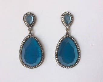Retro 1980's Gold Teal Blue Tear Drop Lucite Summer Statement Dangle Drop Earrings