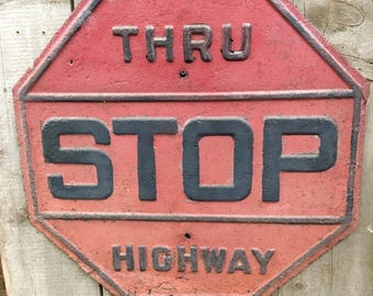 Vintage stop sign embossed