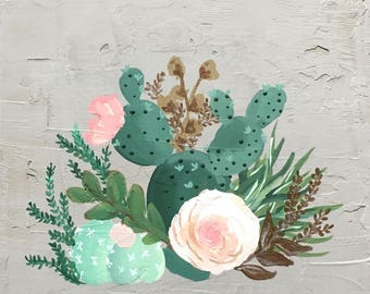 "Floral Cactus Painting - on Concrete Canvas 12""x12"""