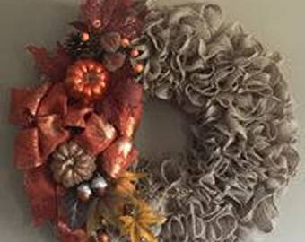 Burlap Wreath, Thanksgiving Wreath, Fall Wreath, Ruffle Wreath, All Fall Wreath
