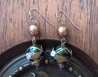 Brass, green and gold earrings