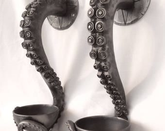 Hand forged Octopus, Squid, Kraken, Tentacles. Wall Sconces, Candle holders or Incense burners. Nautical artwork, sculpture.