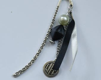 Bookmarks silver Arabesque, black and white satin ribbons, pearls and Life charm