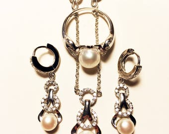 925 Women's Sterling Silver Set (Ring, Earrings & Necklace) with Synthetic Pearl and Synthetic Diamonds