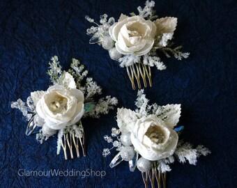 Wedding Hair Comb Winter Wedding Bridal Hair Comb Snowflake Wedding Comb Crystal Rhinestone hair comb