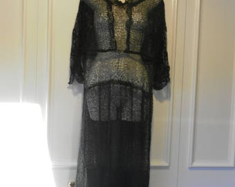 French 1920's Chantilly Lace Dress with Gold Metalwork Lace