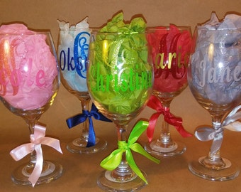 Wine Glasses - Stem or Stemless - Personalized with Regular and Glitter Vinyl