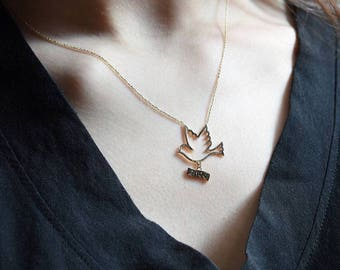 14K Gold Bird Charm Necklace/Gold Necklace Available in 14k Gold, White Gold or Rose Gold