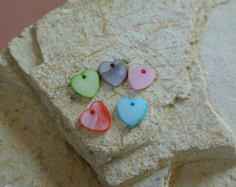 Set of 20 charms Pearl shaped heart in different colors: blue, green, pink, grey, coral, 12 x 12 mm