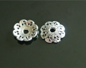 20 bead caps for large silver bead between 14 and 18 mm, rounded petals decoration arabesques, 12 x 2.5
