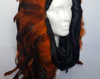 Orange Feather Snood