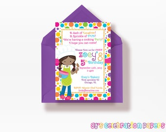 Cooking Party Invitation, Girls Birthday Invitation, Bake Shoppe Party Invitation, Baking Party Printables, Baking Party Invitation