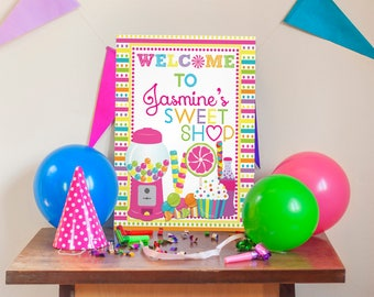Sweet Shoppe Party Welcome Sign, Candlyland Party Decor, Sweet Shoppe Party Decor, Candy Welcome Sign, Sweet Shoppe Poster