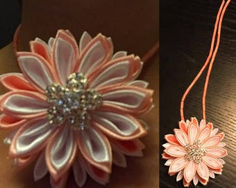 Kanzashi flower satin ribbons with chain
