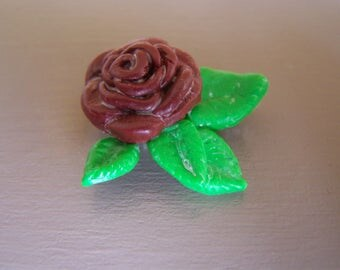 Red rose brooch and green leaves, realistic floral brooch, summer jewelry English flower garden.