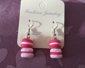 """raspberry macarons"" hook earrings with polymer clay"