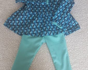 Set girl 2 years, all tunic + leggings set girl heart motif, oeko tex