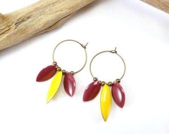 """Earrings """"Namasté"""" yellow & Rose Framboise"""