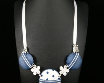 Necklace imitation Jeans and blue polka dot Navy