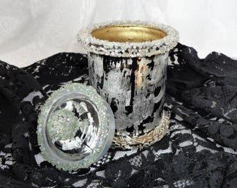 Cotton pad holder Decorated glass jar with lid Glass canister Mason jar makeup holder Bathroom decor Bath jar Gilded mason jar Gift for her