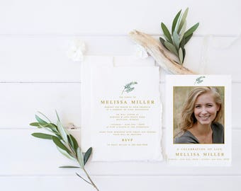 Floral Greenery Funeral Announcement Invitation Mourning Invitation Cards  Memorial Service In Loving Memory Funeral Editable Template  Invitation For Funeral