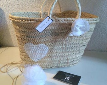 Beach linen and the hearty white heart flower basket/bag