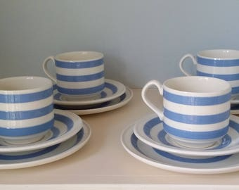 Cornish ware style set of four cups, saucers and tea plates made by the famous Irish Carrigaline pottery.