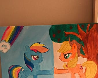 My little pony rainbow dash and applejack acrylic painting