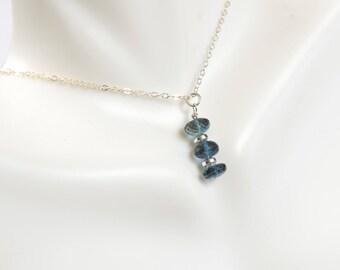 London Blue Topaz necklace/Blue Topaz Necklace . December Birthstone/ Vertical Bar Necklace