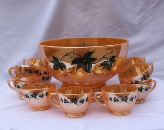 Peach Luster Punch Bowl Set with 11 Cups  Fire King
