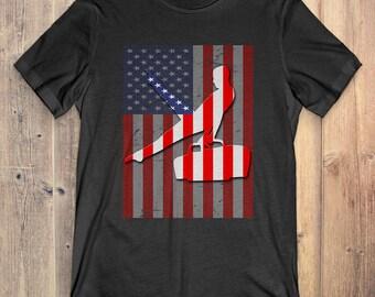 Gymnastics T-Shirt Gift: American Flag